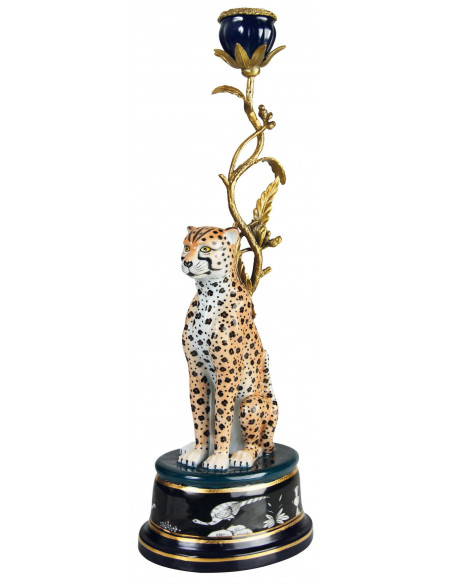 Leopard candle holder brass