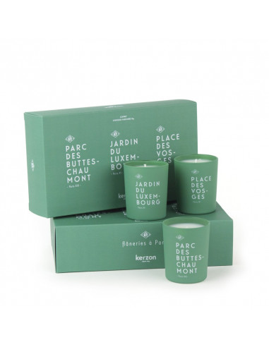 coffret cadeau kerzon bougies parfum es fl nerie de paris. Black Bedroom Furniture Sets. Home Design Ideas
