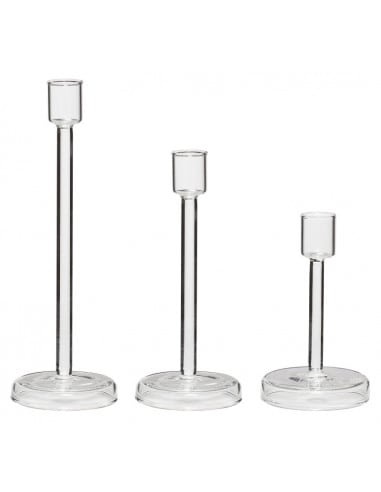 Bougeoir en verre - Set de 3